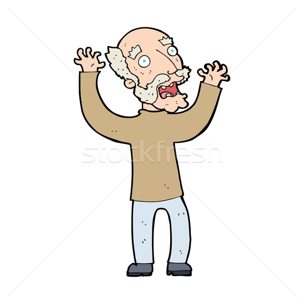 cartoon terrified old man Stock photo © lineartestpilot