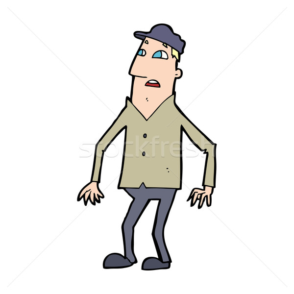 Desenho animado homem mão projeto louco Foto stock © lineartestpilot