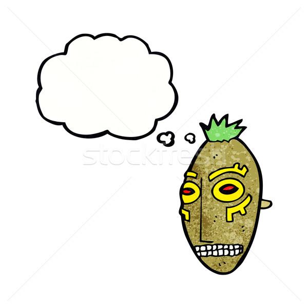 Cartoon tribali maschera bolla di pensiero mano design Foto d'archivio © lineartestpilot