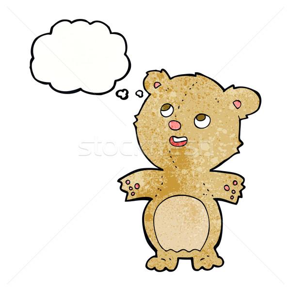 Desenho animado feliz pequeno ursinho de pelúcia balão de pensamento mão Foto stock © lineartestpilot