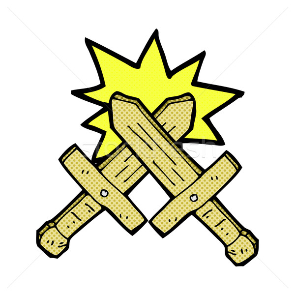 comic cartoon wooden sword fight Stock photo © lineartestpilot