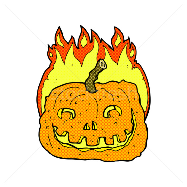 comic cartoon burning pumpkin Stock photo © lineartestpilot