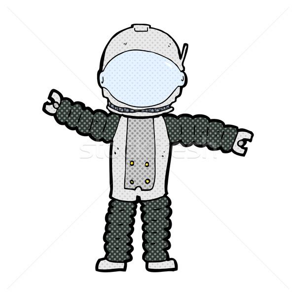 Komiks cartoon astronauta retro komiks stylu Zdjęcia stock © lineartestpilot