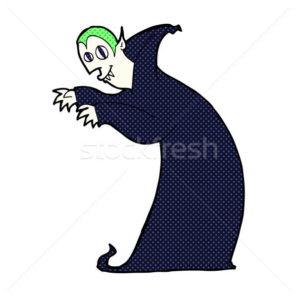 Cômico desenho animado assustador vampiro retro Foto stock © lineartestpilot