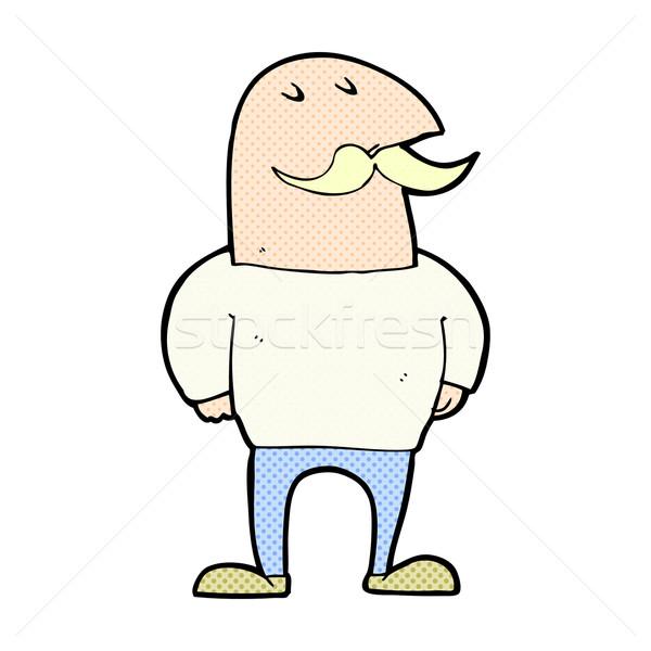 Dessinées cartoon chauve homme moustache rétro Photo stock © lineartestpilot