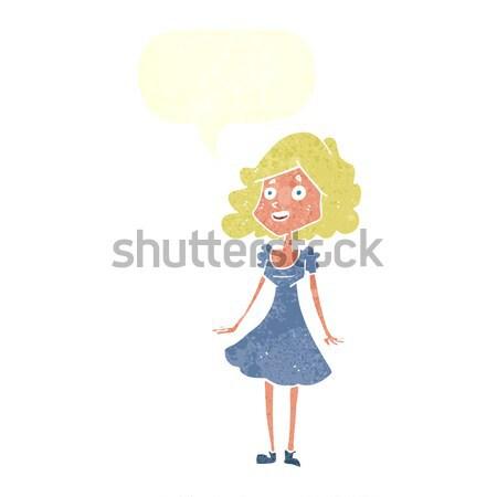 Karikatür mutlu kadın düşünce balonu el Stok fotoğraf © lineartestpilot