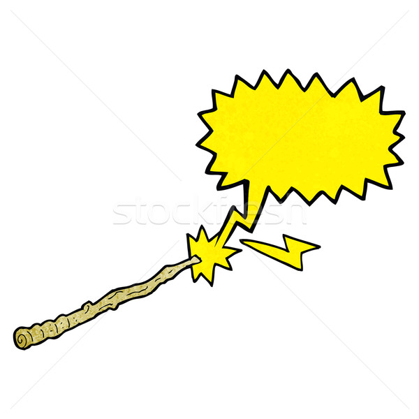cartoon magic wand with speech bubble Stock photo © lineartestpilot