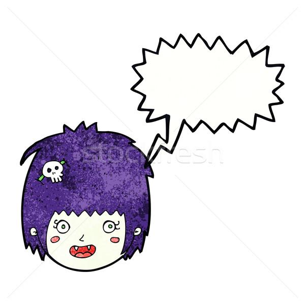 Cartoon felice vampiro ragazza faccia fumetto Foto d'archivio © lineartestpilot