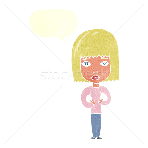 cartoon woman indicating self with speech bubble Stock photo © lineartestpilot