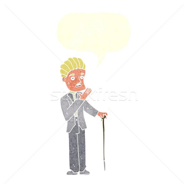 Karikatür beyefendi konuşma balonu el adam Stok fotoğraf © lineartestpilot