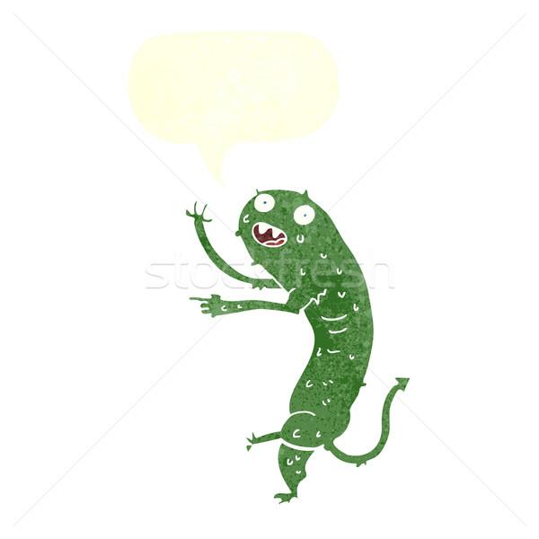 cartoon gross little monster with speech bubble Stock photo © lineartestpilot