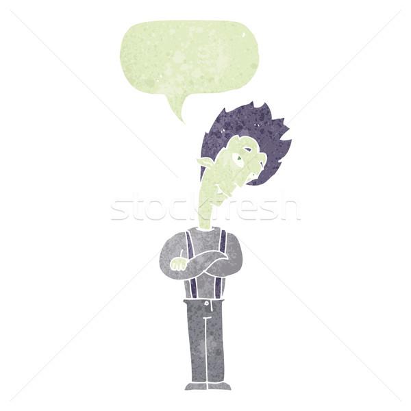 Desenho animado vampiro balão de fala mão projeto louco Foto stock © lineartestpilot