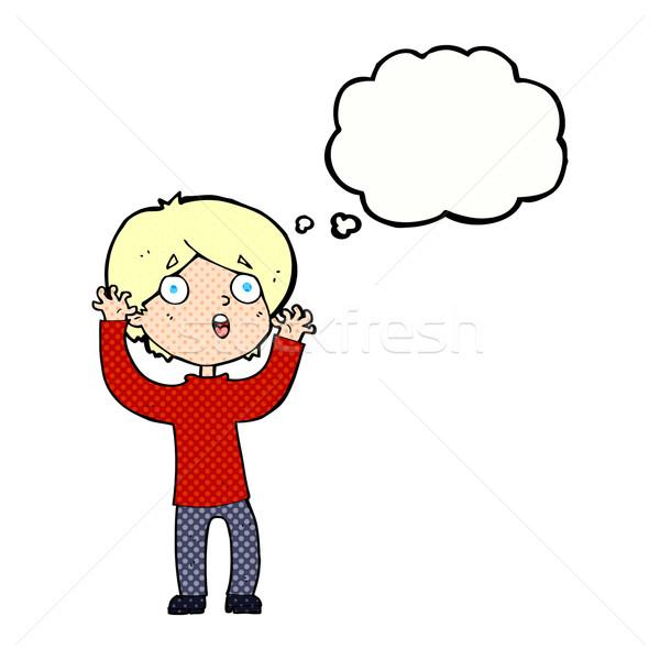 Cartoon asustado hombre burbuja de pensamiento mano diseno Foto stock © lineartestpilot