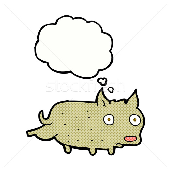cartoon little dog cocking leg with thought bubble Stock photo © lineartestpilot