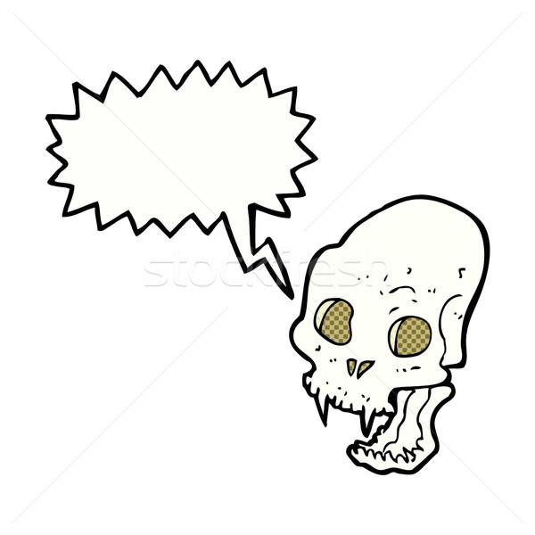 Cartoon vampiro cráneo bocadillo mano Foto stock © lineartestpilot
