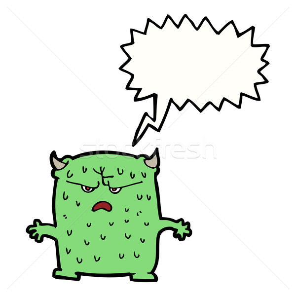 cartoon little alien with speech bubble Stock photo © lineartestpilot