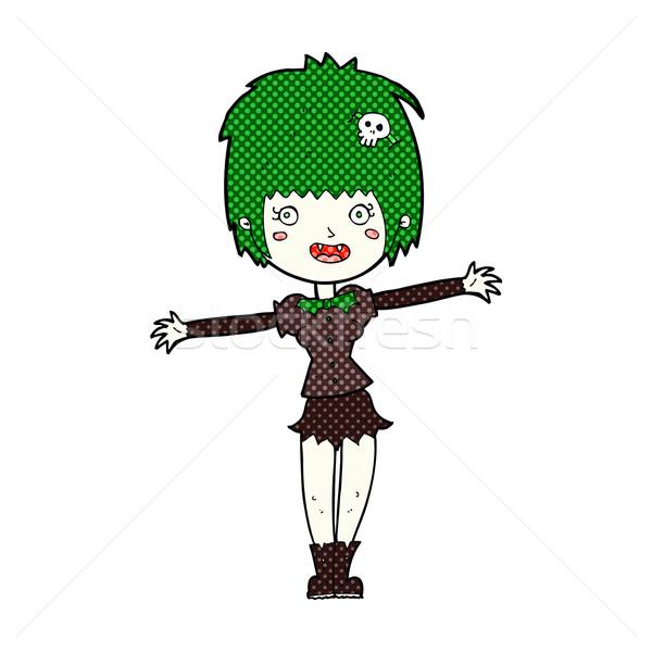 Cómico Cartoon feliz vampiro nina retro Foto stock © lineartestpilot