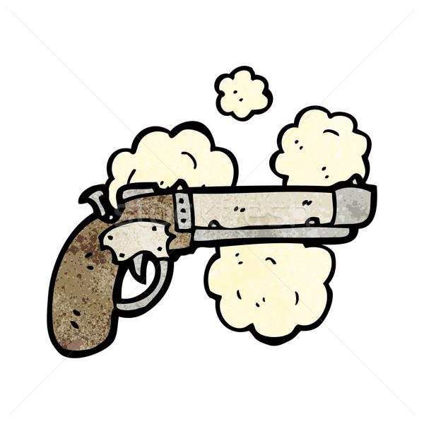 öreg pisztoly rajz fegyver beszél retro Stock fotó © lineartestpilot