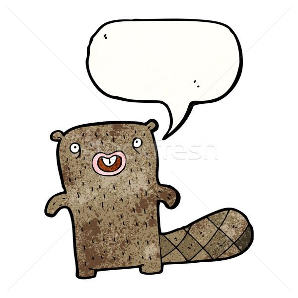 смешные Cartoon бобр ретро рисунок Cute Сток-фото © lineartestpilot