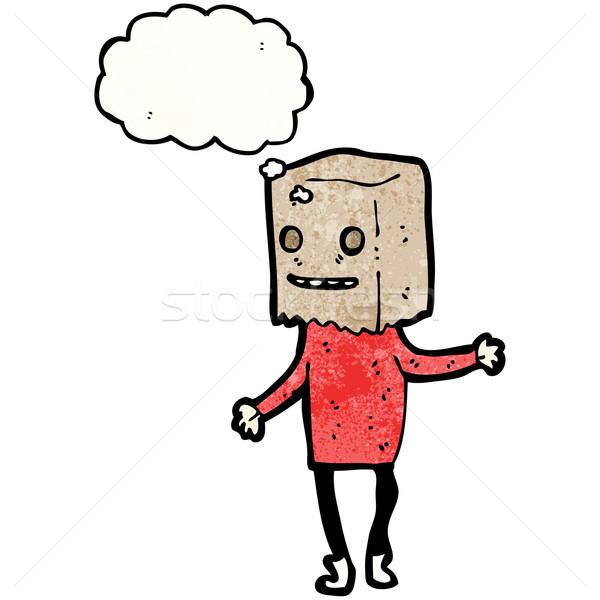 cartoon man with bag on head Stock photo © lineartestpilot
