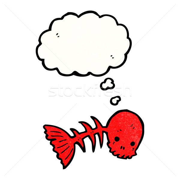 Ijesztő koponya szimbólum gondolatbuborék hal retro Stock fotó © lineartestpilot