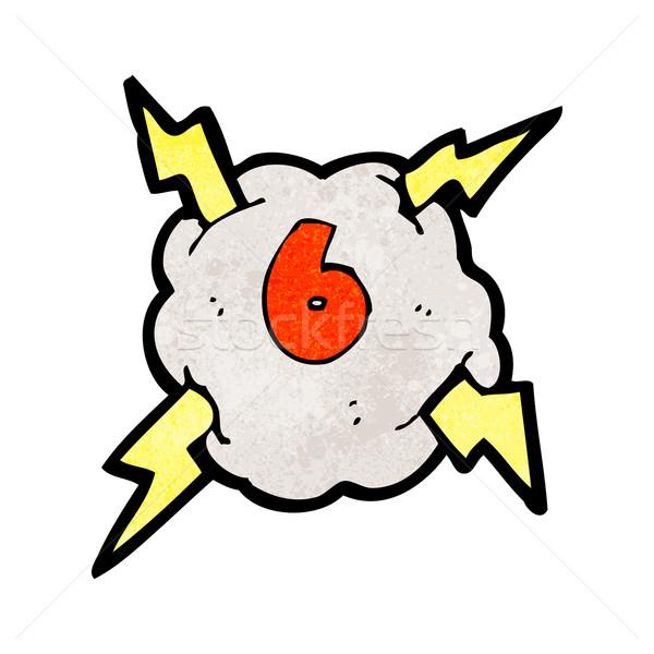 cartoon thunder cloud with number six Stock photo © lineartestpilot