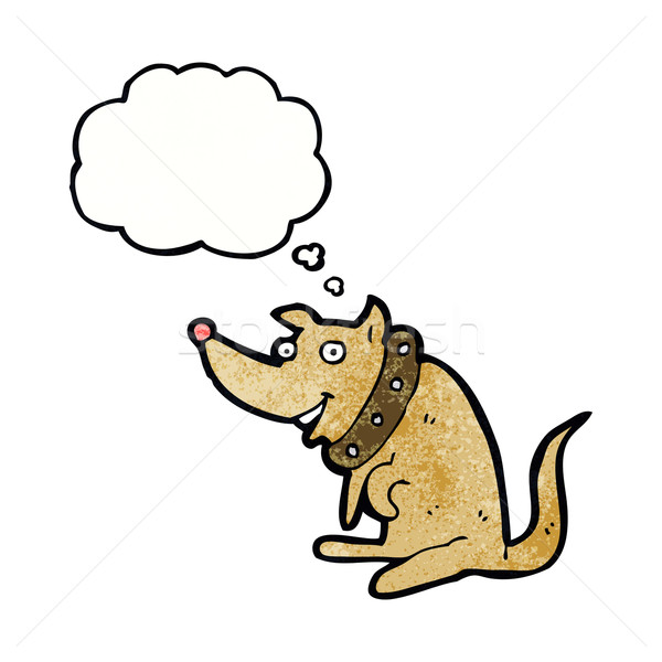 Cartoon счастливым собака большой мысли пузырь стороны Сток-фото © lineartestpilot