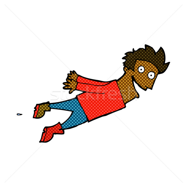 comic cartoon drenched man flying Stock photo © lineartestpilot