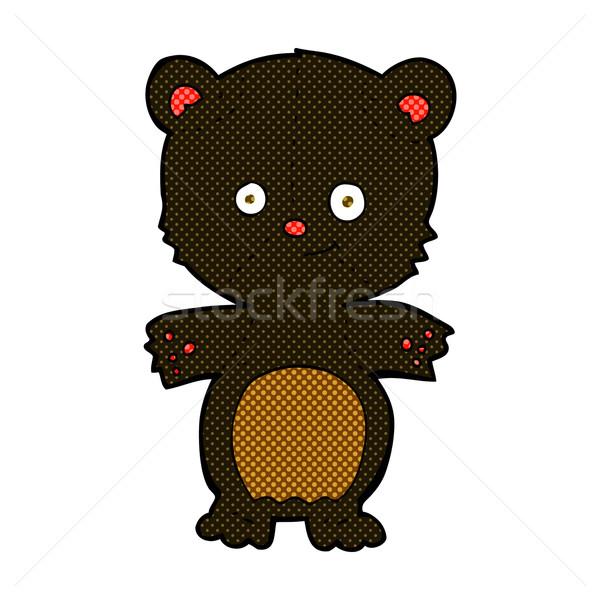 Képregény rajz fekete medve medvebocs retro Stock fotó © lineartestpilot