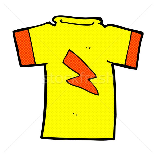 Képregény rajz rövidujjú póló villám retro képregény Stock fotó © lineartestpilot