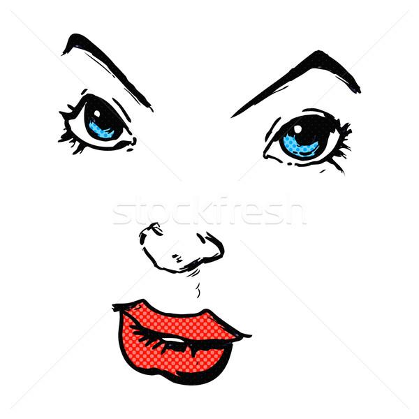 Képregény rajz képregény arc retro stílus Stock fotó © lineartestpilot