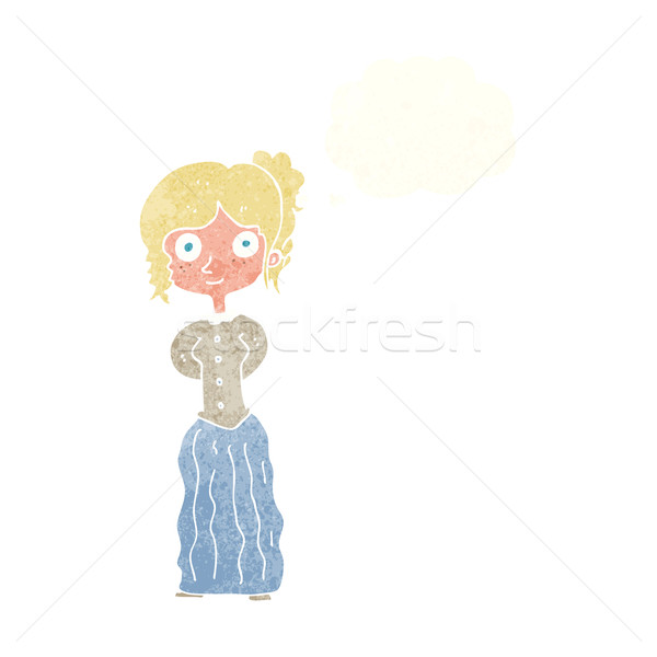 cartoon happy woman with thought bubble Stock photo © lineartestpilot