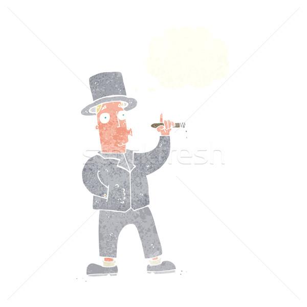 Cartoon roken gentleman gedachte bel hand man Stockfoto © lineartestpilot