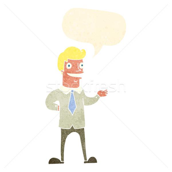 Cartoon продавцом речи пузырь стороны дизайна искусства Сток-фото © lineartestpilot