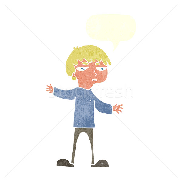 Cartoon agacé garçon bulle main design Photo stock © lineartestpilot