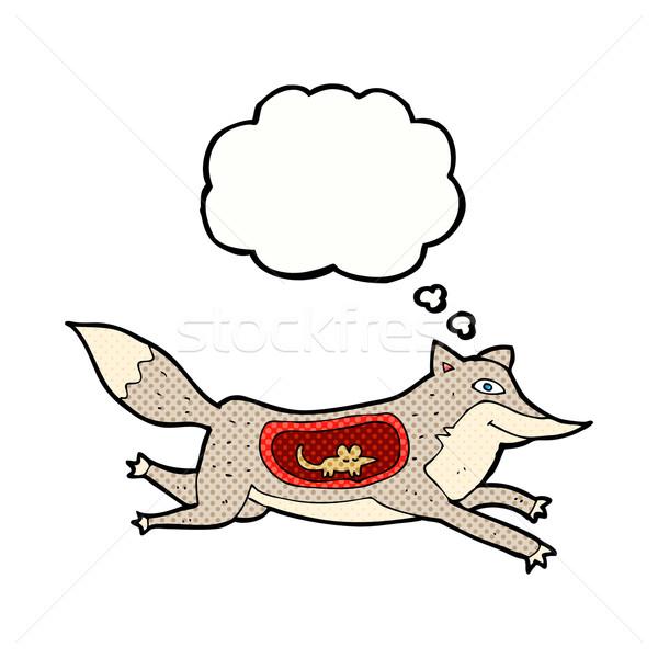 Cartoon lupo mouse pancia bolla di pensiero mano Foto d'archivio © lineartestpilot