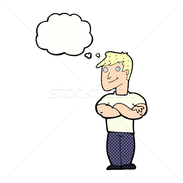 cartoon muscular man with thought bubble Stock photo © lineartestpilot