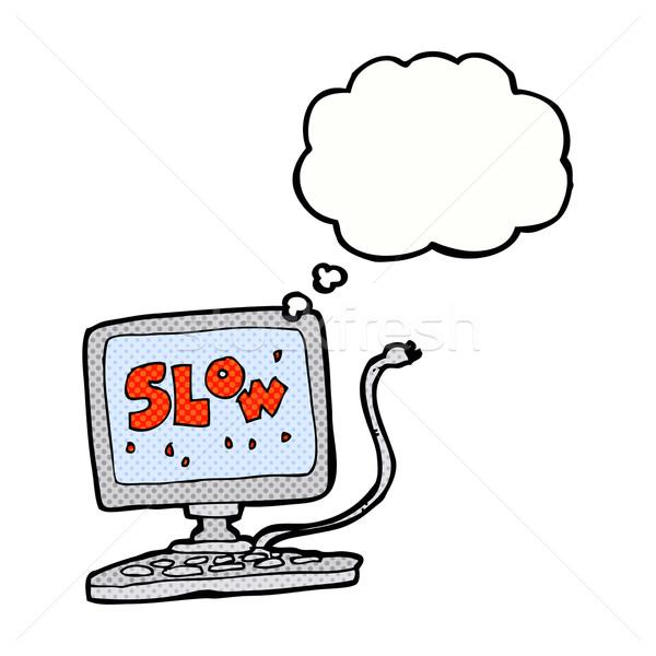 Cartoon lent ordinateur bulle de pensée main design Photo stock © lineartestpilot