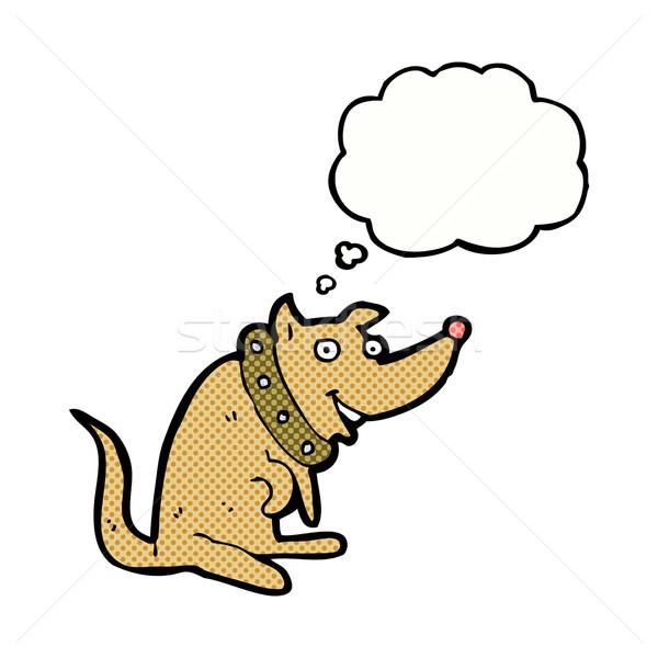 Cartoon feliz perro grande burbuja de pensamiento mano Foto stock © lineartestpilot