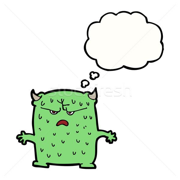 Desenho animado pequeno alienígena balão de pensamento mão projeto Foto stock © lineartestpilot