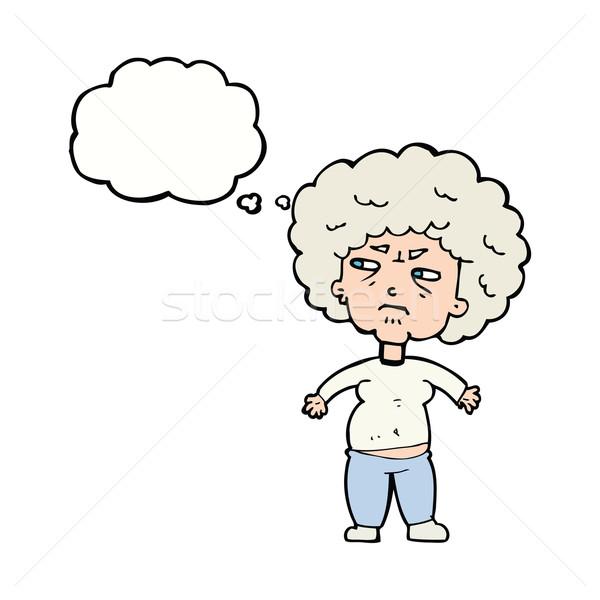 Cartoon agacé vieille femme bulle de pensée femme main Photo stock © lineartestpilot
