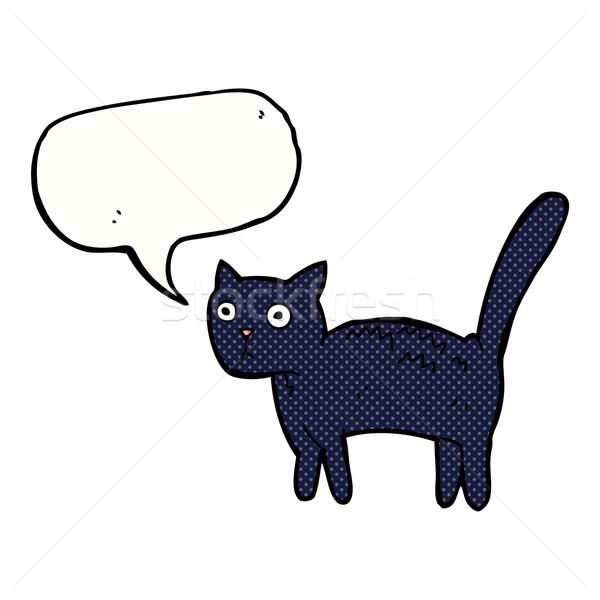 Cartoon przestraszony kot dymka strony projektu Zdjęcia stock © lineartestpilot