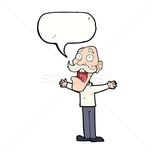Rajz hangsúlyos idős férfi szövegbuborék kéz férfi Stock fotó © lineartestpilot