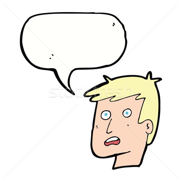 cartoon unhappy face with speech bubble Stock photo © lineartestpilot