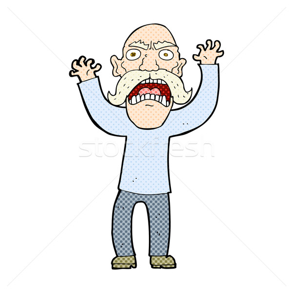 Dessinées cartoon colère vieillard rétro Photo stock © lineartestpilot