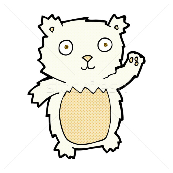 comic cartoon waving polar bear cub Stock photo © lineartestpilot