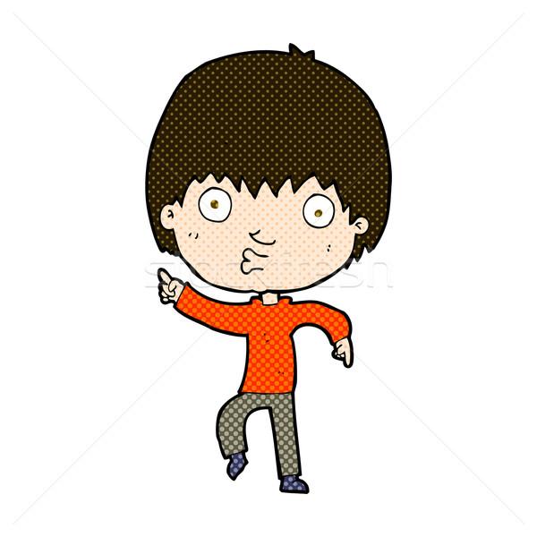 comic cartoon impressed boy pointing Stock photo © lineartestpilot