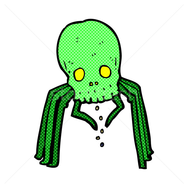 comic cartoon spooky skull spider Stock photo © lineartestpilot