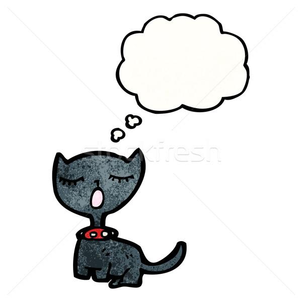 漫画 黒猫 思考バブル テクスチャ 手 幸せ ストックフォト © lineartestpilot