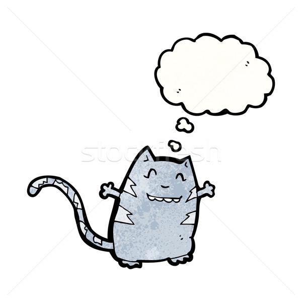 Foto stock: Funny · Cartoon · gato · burbuja · de · pensamiento · hablar · retro